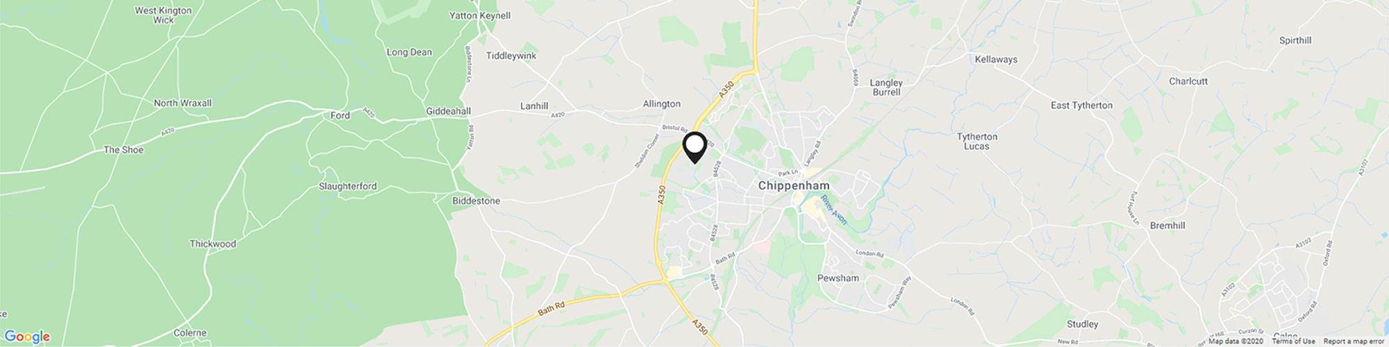 Close up map showing specific Bumpers Farm Chippenham Motor Company location