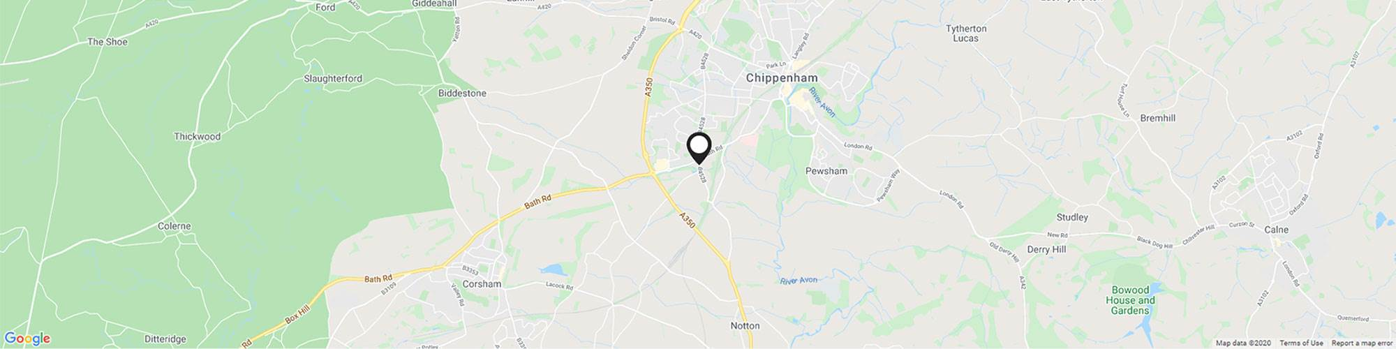 Map showing specific Bath Road Chippenham Motor Company location